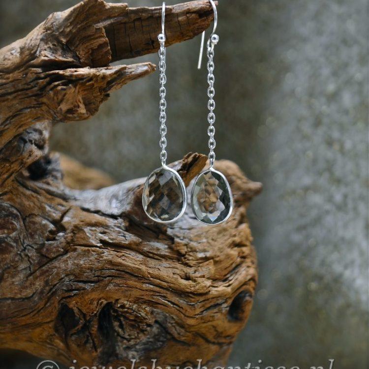 Zilveren Oorbellen met Prasioliet