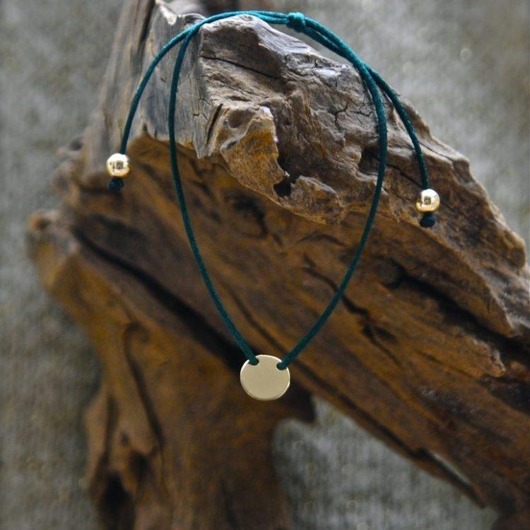 Gouden Koordarmband Donkergroen