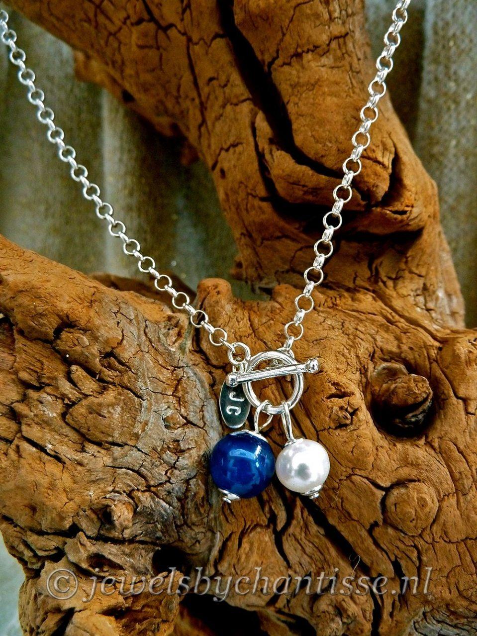 Zilveren Jasseronketting met blauwe Agaat