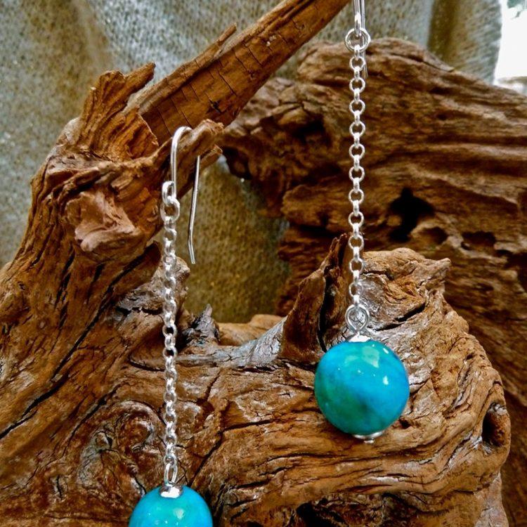 Zilveren oorbellen met Chrysocolla
