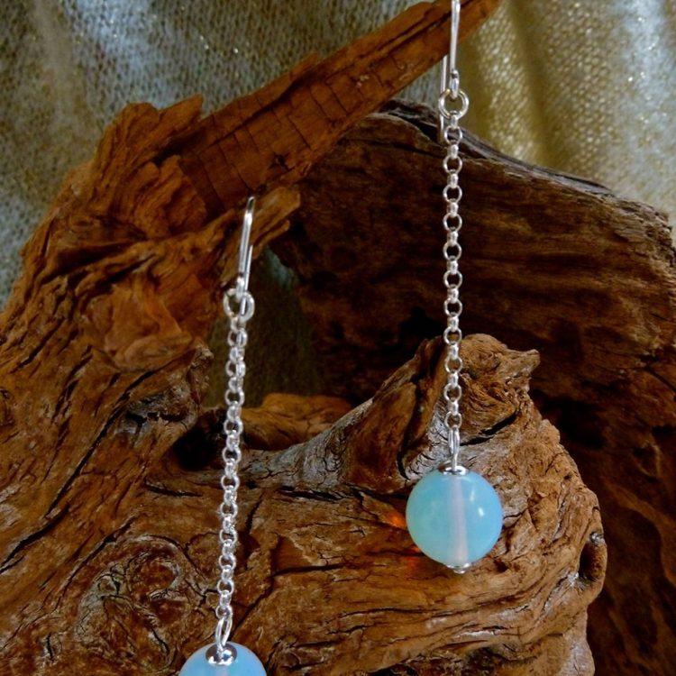 Zilveren oorbellen met Opaliet