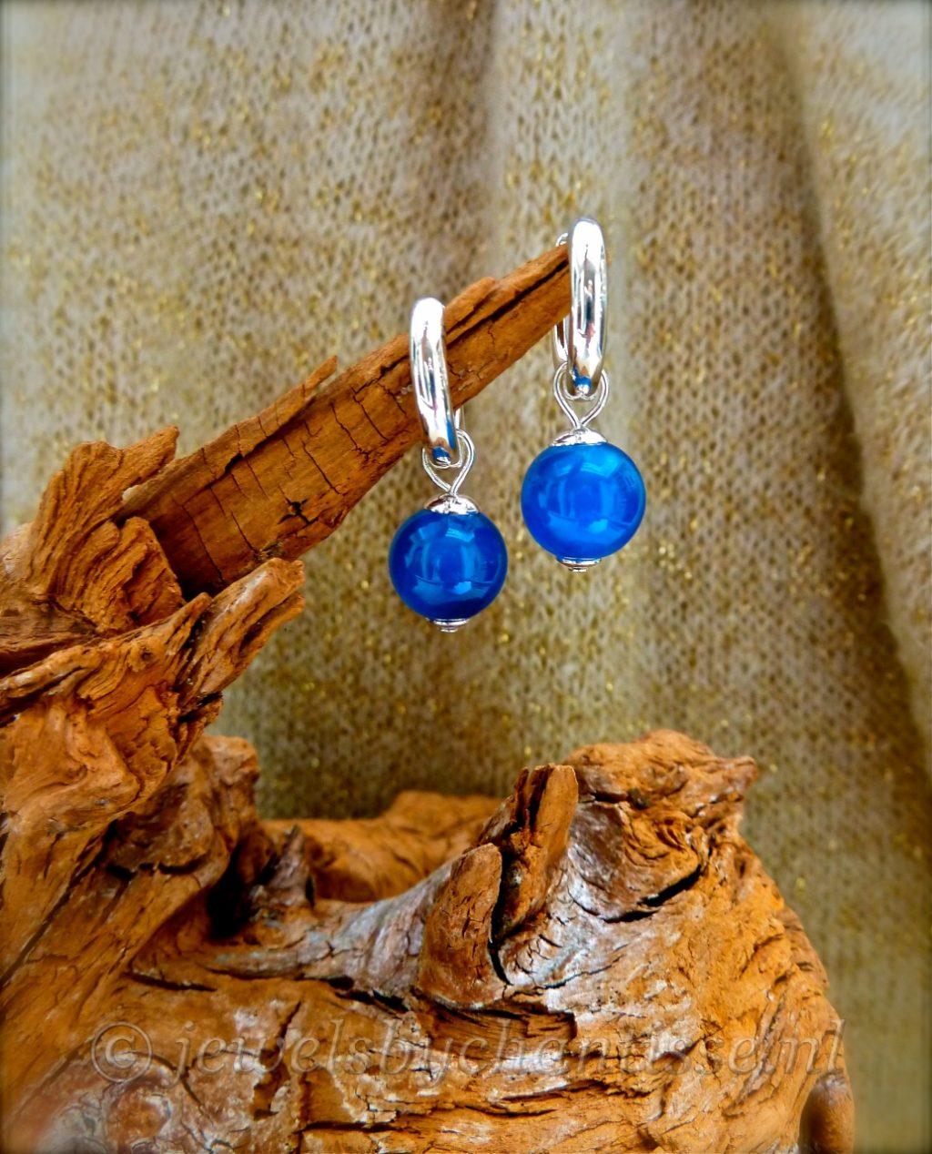 Zilveren Creolen met Blauwe Agaat