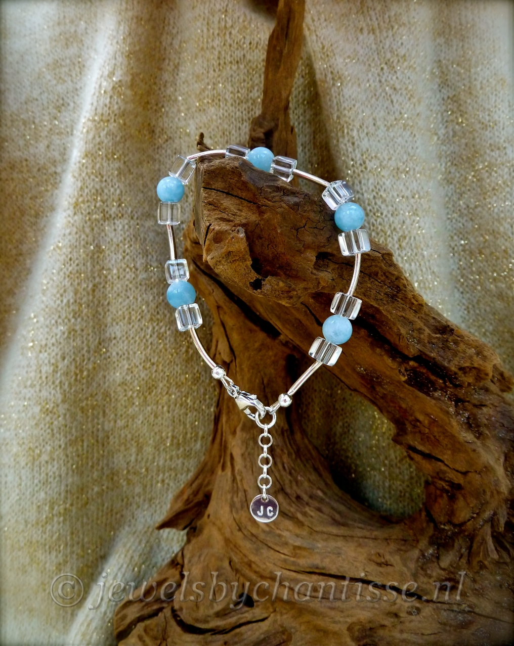 Zilveren Armband met Aquamarijn en Bergkristal