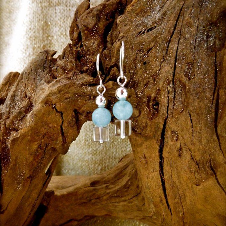 Zilveren Oorbellen met Aquamarijn en Bergkristal
