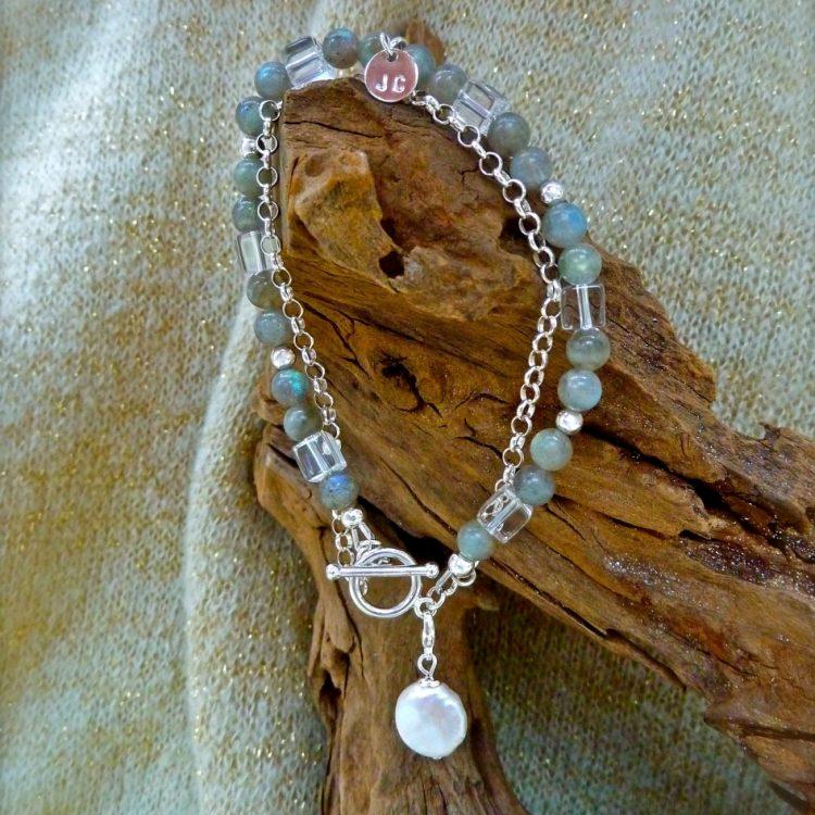 Zilveren Labradoriet Armband met Bergkristal