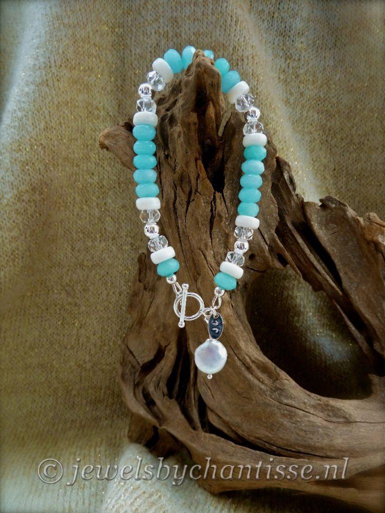Zilveren Jade armband met Bergkristal
