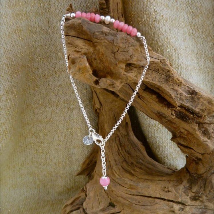 Zilveren Armbandje met Roze Agaat