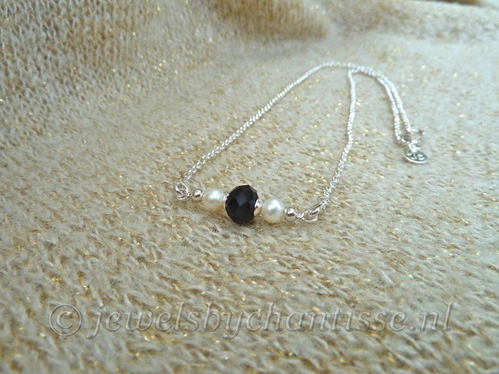 Zilveren Verwisselbare Ketting met Zwart Kristal