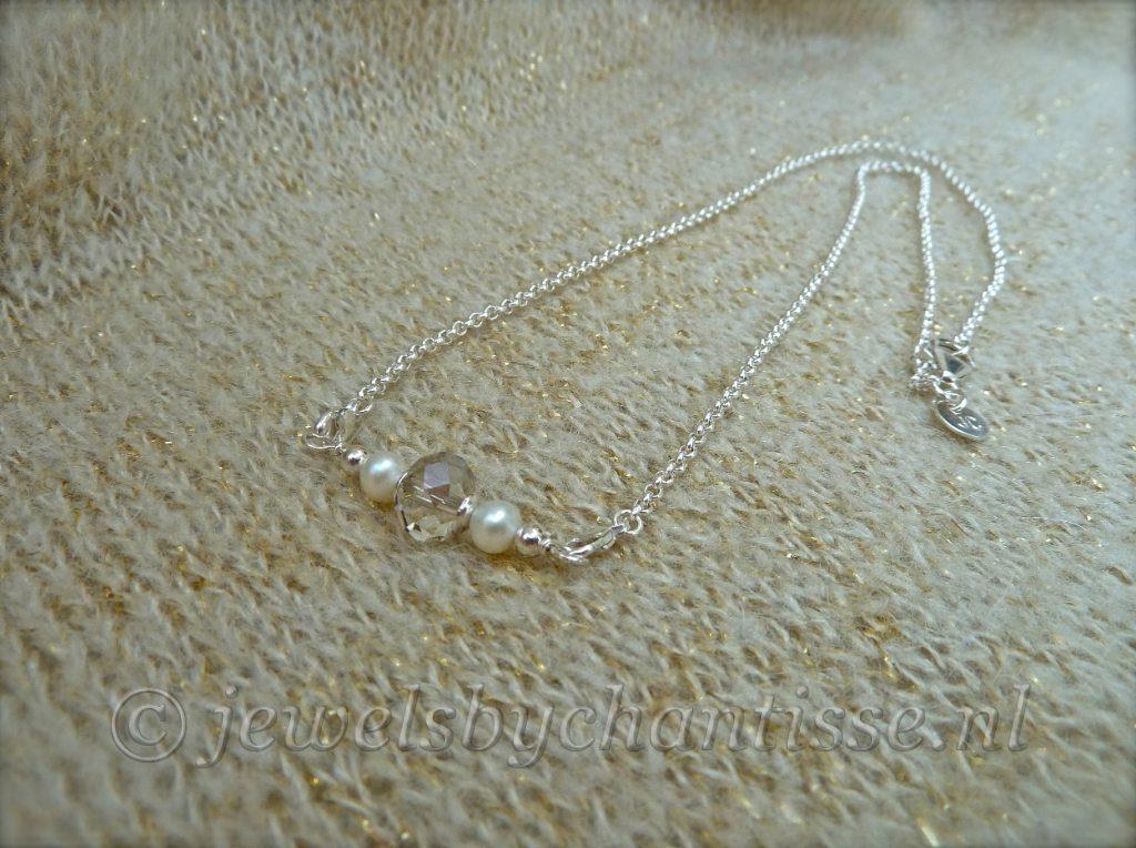 Zilveren Verwisselbare Ketting met Kristal