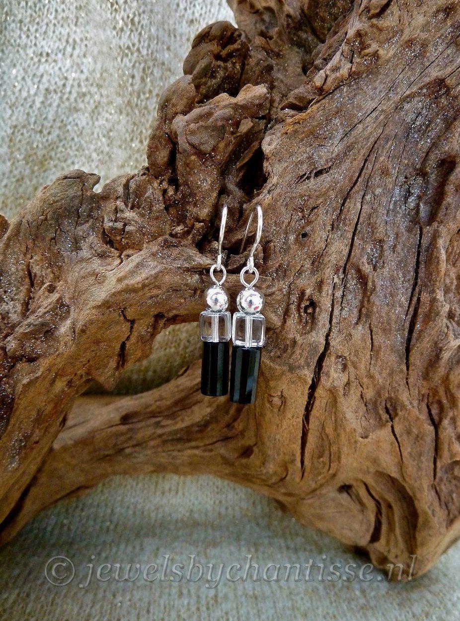 Zilveren Oorbellen met Onyx en Bergkristal