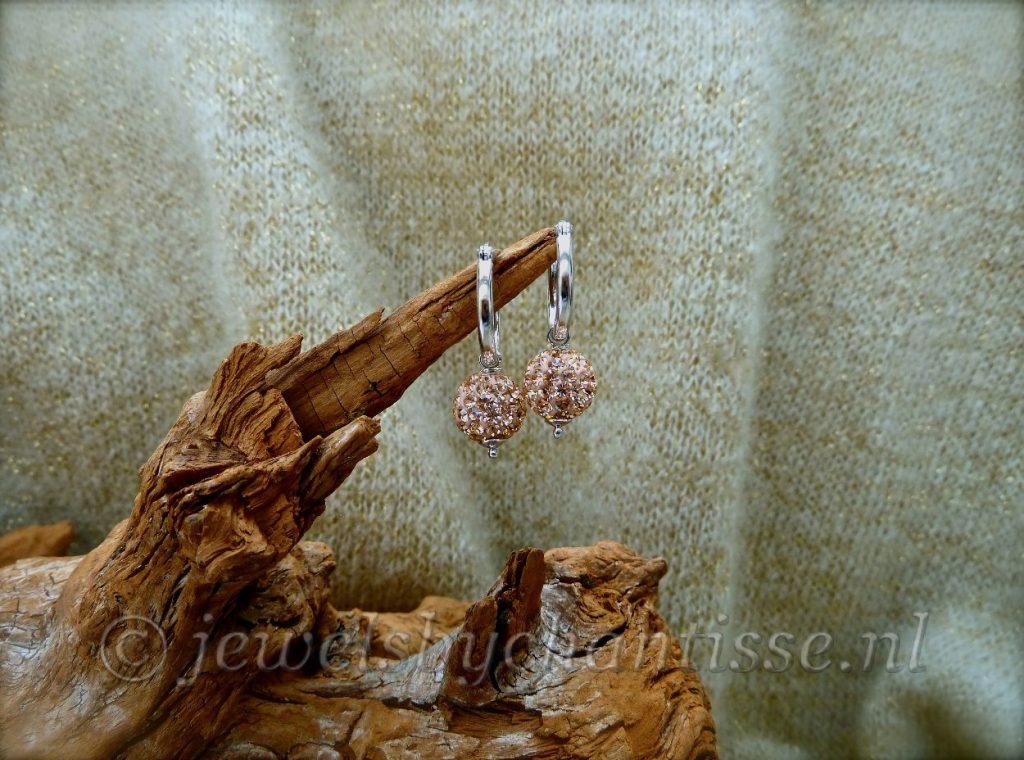 Zilveren Oorbellen met Zalm Preciosa Kristal