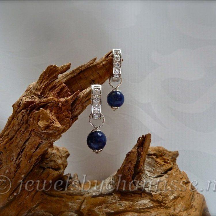 Zilveren Creolen met Zirconia en Lapis Lazuli