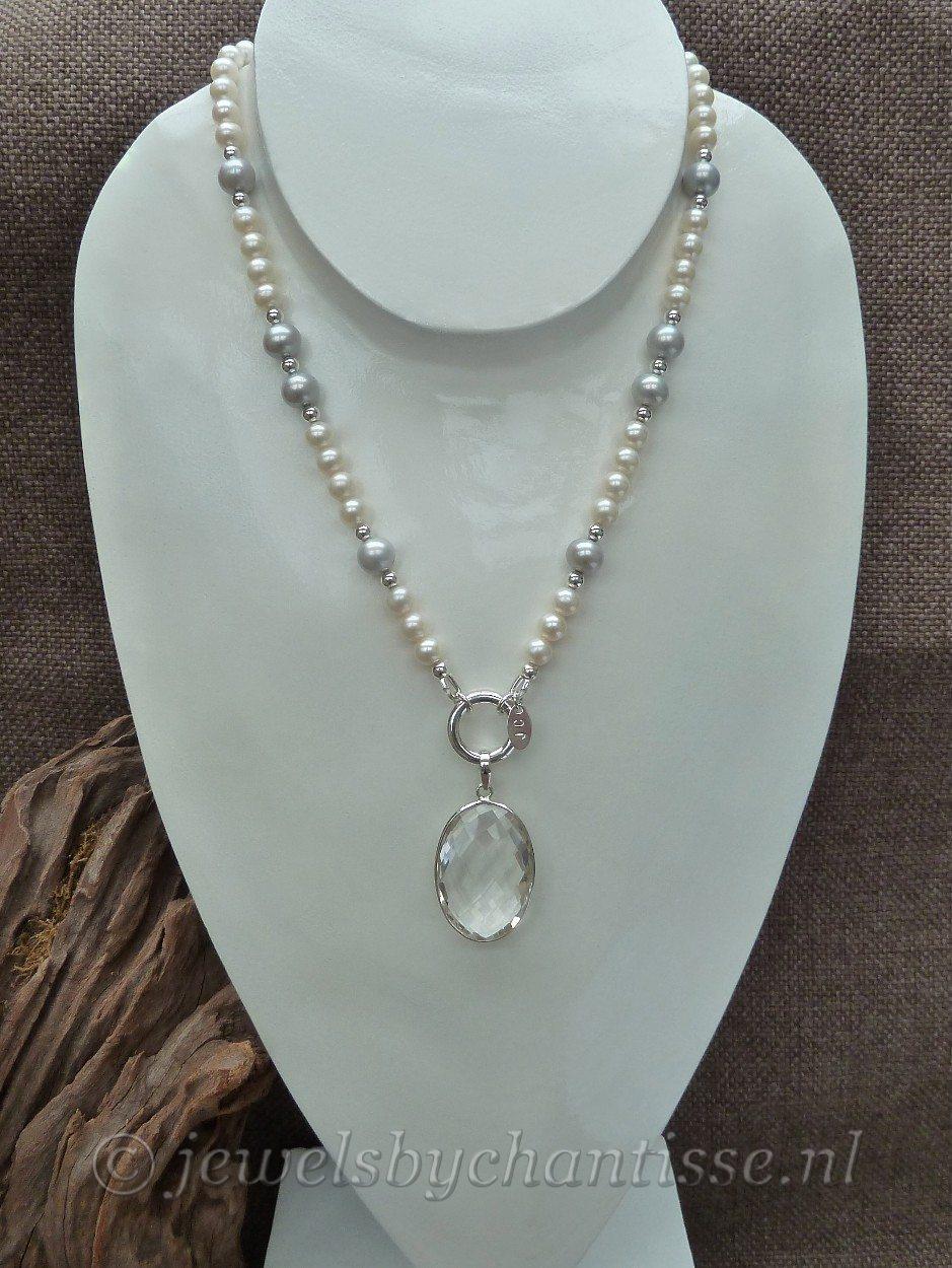 Parelcollier met Bergkristal Pendant