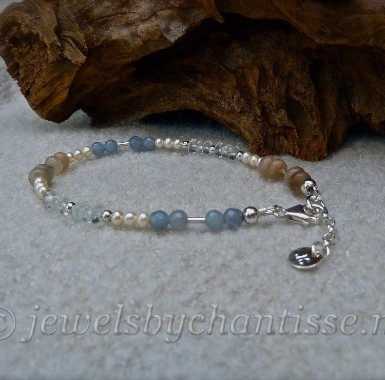 Zilveren Armband met Maansteen, Aquamarijn, Agaat en Parels