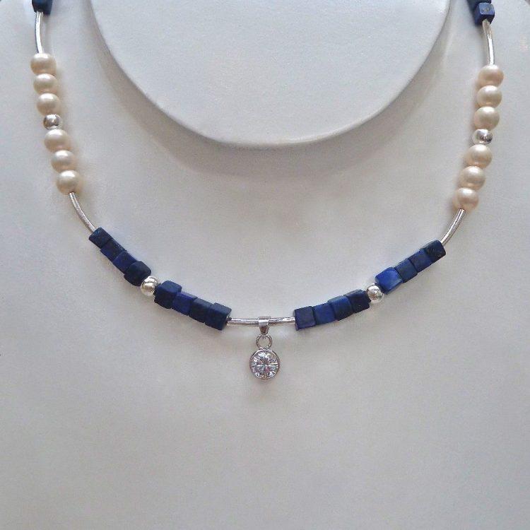 Zilveren Parelcollier met Lapis Lazuli